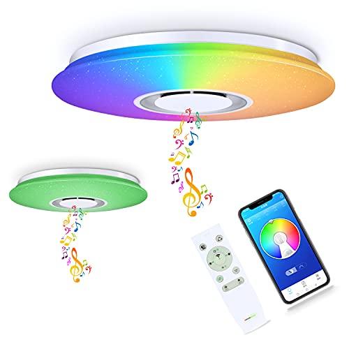 CHYSONGOODS 50CM 48W Plafoniera LED,Lampada Da Soffitto Con Altoparlante Bluetooth App Telecomando Regolabile Cambia Colore,Illuminazione Interni (1 Altoparlante 50CM 48W Circolare)