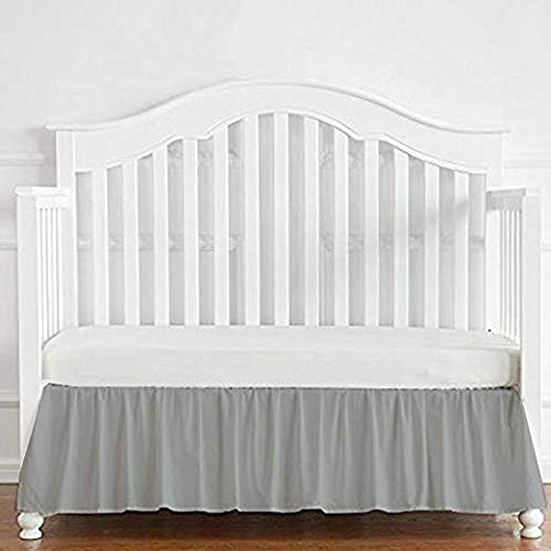 Cotton Metrics Linen 800TC 100 Pure Cotton Tailored Crib Bed Skirt Dust Ruffle 14 Inches Long For Baby Girls And Boys Silver Grey