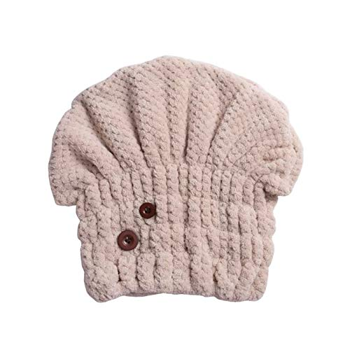 WFF sombrero Tapas de secado de cabello suave de microfibra con decoración de botones, ultra absorbente, secado rápido Toallas de cabello Turban envoltura tapa de ducha para niñas y mujeres gorro de p