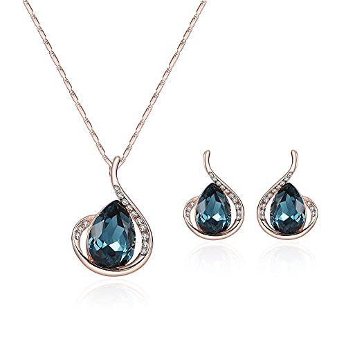 TIANYOU Conjunto Elegante de Dos Piezas Pendientes de Lágrimas Elegantes Artificial Collar de Di