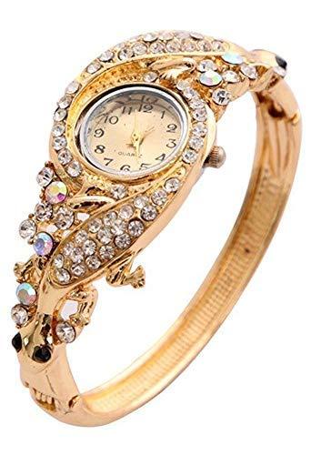 Sataanreaper Presents 18K Plateó El Cristal Brazalete del Reloj De Pulsera para Niñas Y Mujeres (De Oro) #Sr-2081
