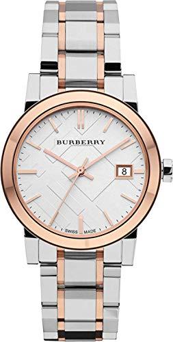 Reloj de pulsera para mujer de acero inoxidable de 34 mm con esfera de fecha de plata y 2 tonos de oro rosa raro suizo BU9105