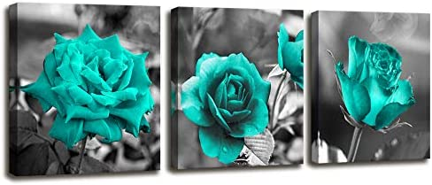 Turquoise Wall Decor for Bedroom 3 Piece Canvas Wall Art Teal Blue Rose Flowers Pictures Prints product image