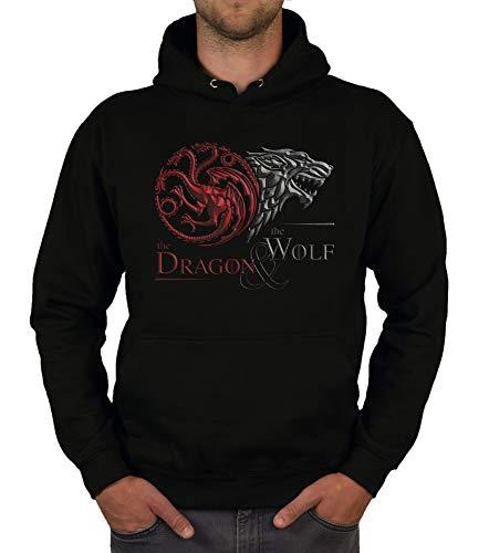 shirtdepartment - Game of Thrones - Herren Hoodie - The Dragon and The Wolf Wappen schwarz-dunkelrot XL