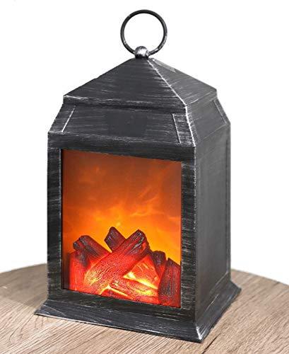 Led-lantaarn met open haardvuur look, 26 cm, vlameffect, decoratieve open haard