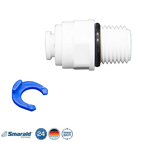 Fitting Adapter Verbindungsstück 1/4 Zoll Gewinde x 1/4 Zoll Schlauch für Wasserfilter Filtergehäuse und Umkehr Osmose Anlage Kühlschrank Wasserfilter von Smarald®