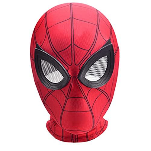 LQ-LIMAO Homecoming Spiderman Casco Accesorios para Niños Superhéroe Cosplay Sombreros Pequeños Lycra Spandex Máscaras Unisex Navideños Regalos Cumpleaños Cubierta,Red-Kids