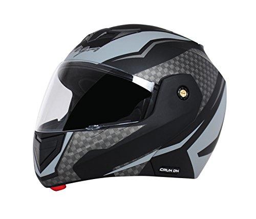Vega Crux DX Full Face Helmet (Checks Dull Black and Silver, M)