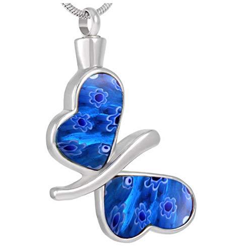 Wxcvz Collar para Cenizas Cristal 30Mm Mariposa Memorial Cenizas Recuerdo Joyería Urna Colgante Collar Cremación Joyas Urnas P