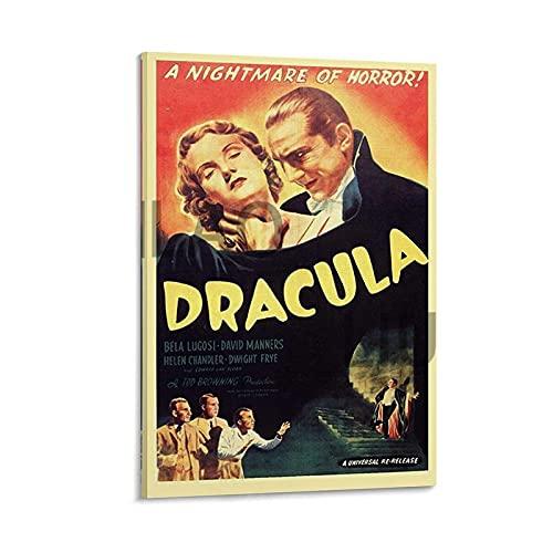 Poster da parete con film horror Dracula – Bela Lugosi 1931 per decorare la camera da letto, camera da letto e bagno, 30 x 45 cm