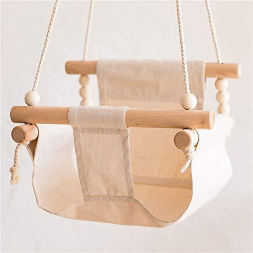 Baby Canvas schommelstoel opknoping hout kinderen kleuterschool speelgoed buiten binnen kleine mand schommelende schommelstoel met kussen