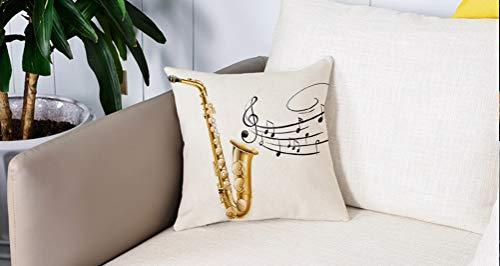 Square Soft and Cozy Pillow Covers,Jazz Music Decor, Ilustración de Fancy Old Saxophone con Template Solo Vibes Art Print Decor, G,Funda para Decorar Sofá Dormitorio Decoración Funda de almohada.