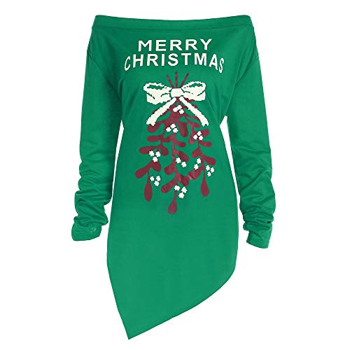 HuaCat Weihnachtskleid Damen Sweatshirt Christmas Kleider Langarmshirt Xmas Elch Gedruckt Kleid Swing Kleid Abendkleid Partykleid Großen Dress Mini Kleid Tunic