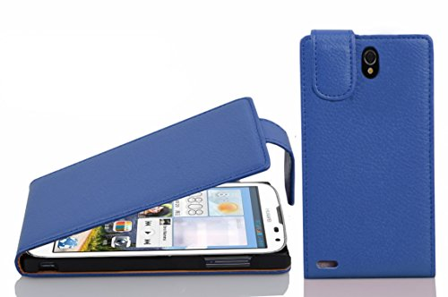 Cadorabo Hülle für Huawei Ascend G610 - Hülle in KÖNIGS BLAU – Handyhülle aus Strukturiertem Kunstleder im Flip Design - Case Cover Schutzhülle Etui Tasche