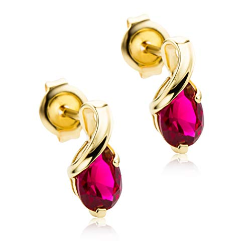 Orovi Schmuck Damen tropfen Ohrringe mit Edelstein/Geburtsstein Rubin in rot Ohrhänger aus Gelbgold 9 Karat / 375 Gold