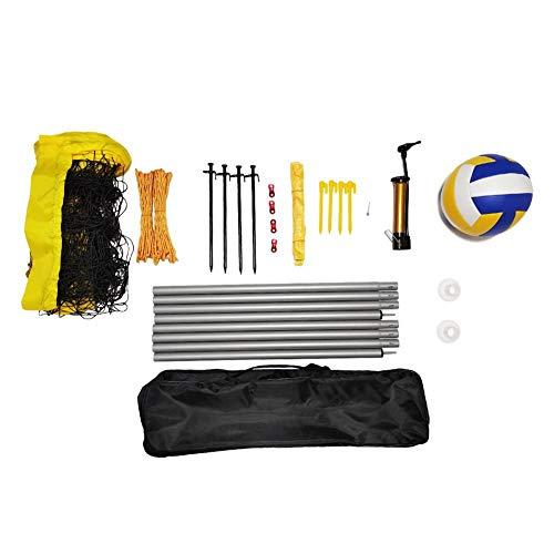 smileyshy Easy Badminton-Netz-Set, Volleyballnetz, 9,5 m x 1 m, mit Zugseil, für drinnen und draußen, Garten, Strand, Sport, mit Tragetasche, Rahmen