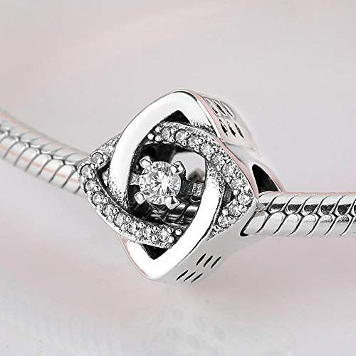 jiao 925 Sterling Silber schöne quadratische Zirkone Armreifen Mode Geschenk Perlen Fit Original Charms Armband Schmuck