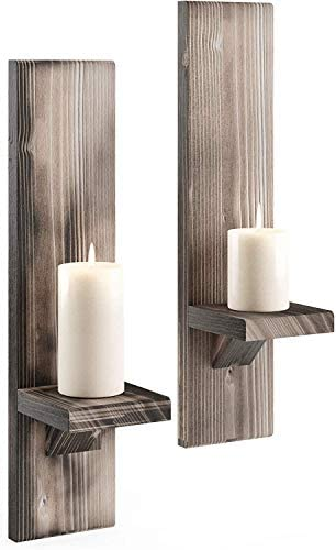Wood Wall Sconce Candle Holder Set of 2 Wall Mount Wooden Candle Holders Wallmounted Rustic product image