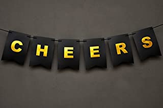 Boston Creative company Cheers Banner -Bubbly Bar Banner - Champagne Theme - Bachelorette Party Decor - Black and Gold Foiled Banner Card Stock-USA Brand!! #Card_BAN_19