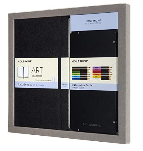 Moleskine Sketchbook & Watercolor Pencil Set Hard Cover (5 x 8.25) Sketch Pad for Drawing, Watercolor Painting, Sketchbook for Teens, Artists, Students, 104 Pages