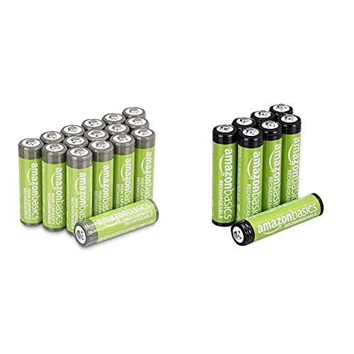 Amazon Basics AAA-Batterien, wiederaufladbar, vorgeladen, 8 Stück (Aussehen kann variieren) und AA-Batterien mit hoher Kapazität, wiederaufladbar, 2400 mAh, 16 Stück, vorgeladen