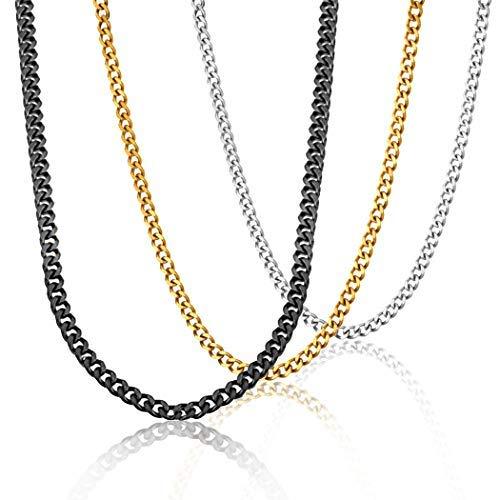 3 Pcs Collar hombre cadena acero inoxidable Largo eslabones de la cadena, Cadena Cubana Dorado/Negro/Plateado
