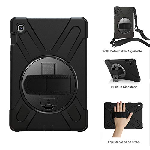 "Galaxy Tab S5E 10.5"" Hülle, Heavy Duty 3 Layers Hülle Silikon PC Stoßfest Tasche Cover Kickstand mit Handschlaufe/Shoulder Strap Shell für Samsung Galaxy TAB S5e 10.5"