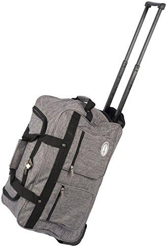 Dynamic24 Leonardo Canvas Trolley Tasche 47L Sporttasche Reisetasche Koffer Handgepäck Boardtrolley (Grau)