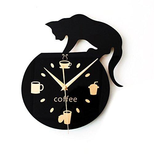 WINOMO Stille Cartoon Wanduhr Nette Klettern Katze für Trinken Kaffee Uhr Wand Dekoration Tasse Kaffee Uhr