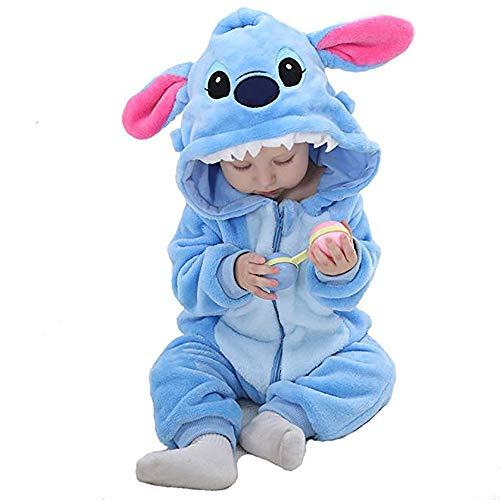 Unisex Baby Flannel Romper Animal Onesie Costume Hooded Cartoon Outfit Suit (Blue, 100)