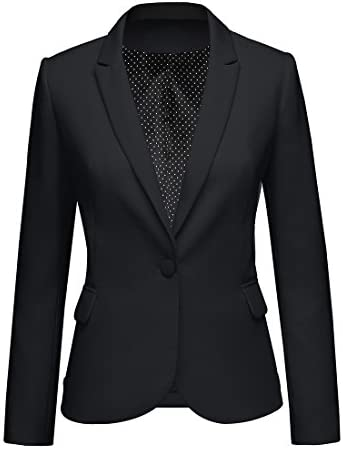 LookbookStore Women s Black Notched Lapel Pocket Button Work Office Blazer Jacket Suit Size product image