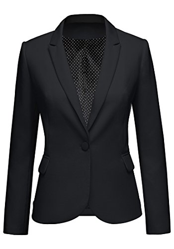 LookbookStore Women's Black Notched Lapel Pocket Button Work Office Blazer Jacket Suit Size XL