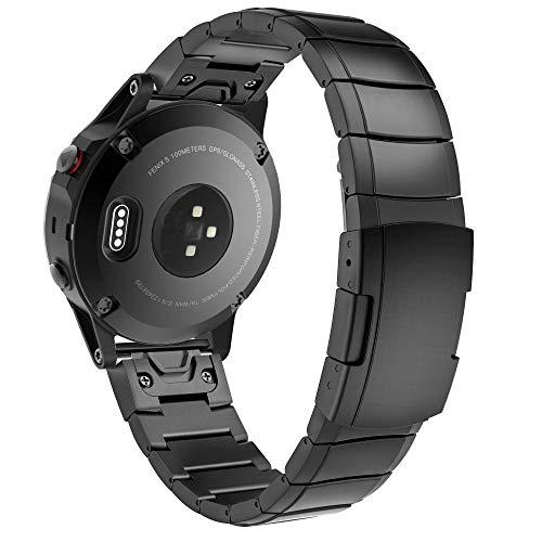 Tech-Protect Pulseras – Correa de reloj – Correa de repuesto SteelBand compatible con Garmin Fenix 3/5X/3HR/5X Plus/6X/6X Pro, correa de metal, acero inoxidable de repuesto, color negro