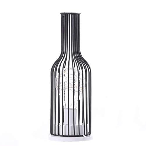 QIEZI Lampada da Tavolo Industriale, Lampada da Tavolo Vintage da scrivania in Ferro battuto con Bottiglia di Vino - Classica ed Elegante, Robusta, Lampadina Inclusa, Lampada da Comodino Vintage
