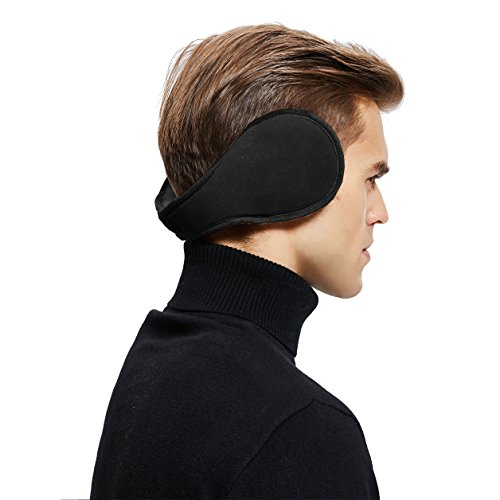 Sheepskin Wool Snug Earmuffs Ear Warmer - Men Winter Suede Earwarmer - Black
