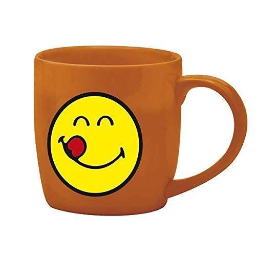 zak! Kaffee-Tasse Smiley-Lecker 200ml in orange, Porzellan, 6.8 x 9.8 x 8 cm