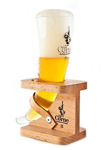 Original la Corne Du Bois del pendus cerveza cristal 33cl con soporte de madera Cristal cerveza Belga