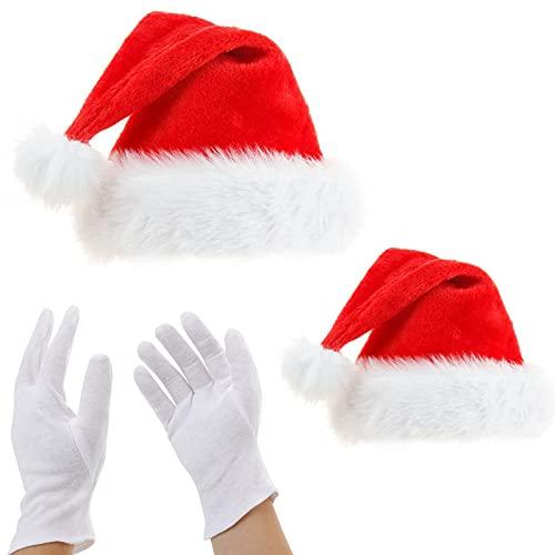 2 Piezas Gorro Navideño,Felpa Sombrero de Navidad,Gorro de papá Noel,con Guantes Blancos,45cm*32cm/38cm*28cm,Amplia Gama de Aplicaciones,para Navidad,Halloween,Días Festivos,Fiestas,Regalos(Rojo)