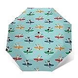 Paraguas automático triple plegable 3D exterior impreso Corgis en kayaks lindo perro al aire libre tricolor Corgis azul tinte resistente al viento protección UV paraguas para uso diario