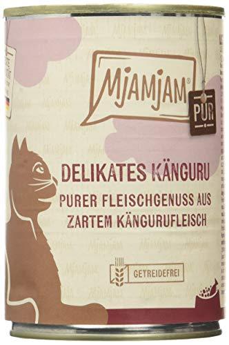MjAMjAM - Premium Nassfutter für Katzen - purer Fleischgenuss - Delikates Känguru, 6er Pack (6 x 400 g), getreidefrei mit extra viel Fleisch