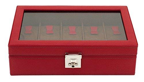 Friedrich|23, Uhrenkasten, Für 10 Uhren, Echtleder, 29,5 x 18,5 x 8,5 cm, Abschließbar, Glasdeckel, Cordoba, Rot, 26215-4