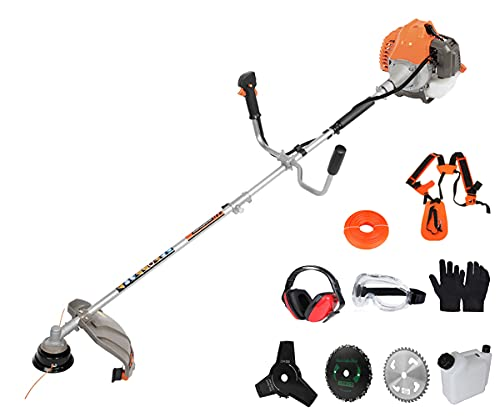 PROYAMA 42.7cc 2 in 1 Extreme Duty 2-Cycle Gas Dual Line Trimmer and Brush Cutter, Grass Trimmer, Weed Eater 2021 Upgraded