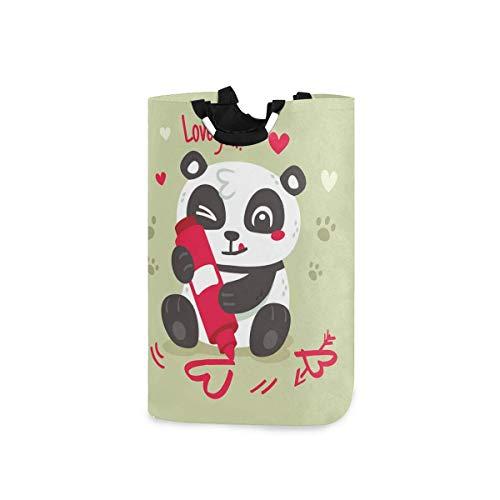 N\A Great Elements of Panda Valentine 's Day Canasta de lavandería Plegable Grande Plegable autónoma con Asas Bolsa de Mano de Almacenamiento de Lavado portátil