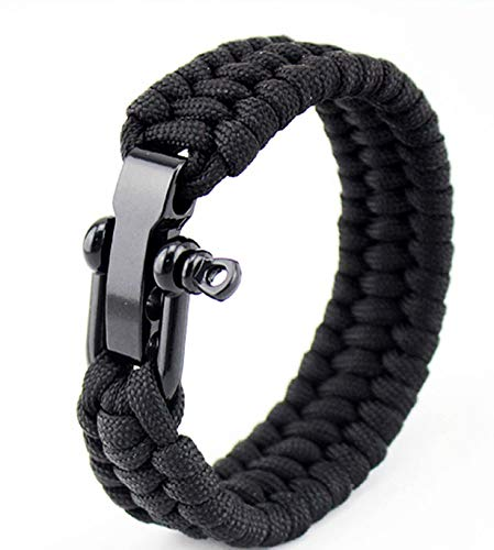 camellia® Taktische Paracord Regenschirm Seil Armband Stahlschnalle Seil Paracord Armband Einstellbare Outdoor Survival Armband (schwarz)
