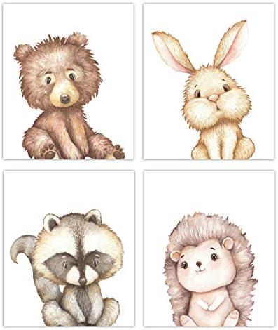 Little Baby Watercolor Animals Woodland Prints Set of 4 Unframed Nursery Decor Art 8x10 Option product image