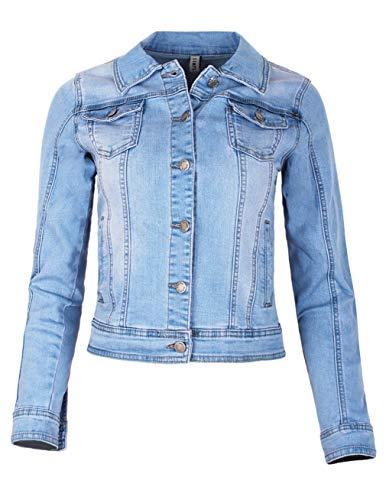 Fraternel Damen Jacke Jeansjacke Denim Jacket talliert Stretch Hellblau S / 36