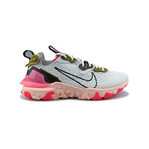 Nike W NSW React Vision, Zapatillas para Correr Mujer, Summit White Ironstone Siren Red Desert Moss Sunset Pulse Photon Dust, 40.5 EU