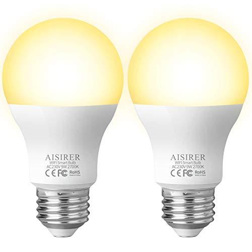 AISIRER Ampoule Connectee Ampoule WIFI LED Intelligente 9W 806LM Compatible avec Amazon Alexa Echo, Google Home Assistant E27 Dimmable Lumière Chaude 2700K Aucun Hub Requis (actualiser 2 Pack)
