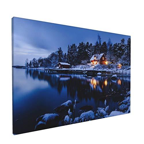 Canvas Wall Art Country Cottages A Suburb Of Stockholm Winter Landscape Sweden One Panel Landscape Artwork Prints, Modern Framed For Home Office Living Room Bedroom Wall Decorations