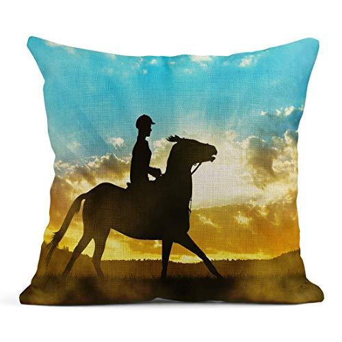 485 Protectora De Almohada 45x45cm Fundas De Almohada Sky Silhouette of Rider On Horse At Sunset Action Active Adventure Animal Cloud Tirar Almohada Cojin